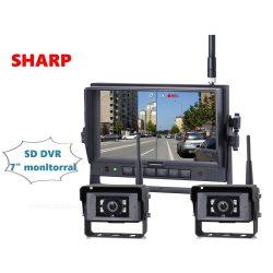Ipari kivitelű vezeték nélküli tolatókamera szett SD kártyás DVR LCD monitorral 2 db tolatókamerával Sharp HDW127-HDW143671X2