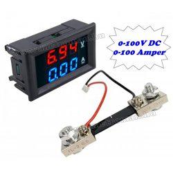 Beépíthető digitális Volt és Ampermérő Sönt ellenállással 0-100V 100A M0100AVDC