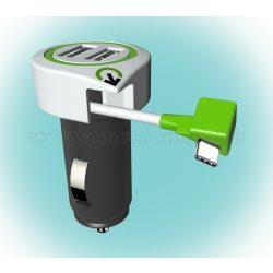 Autós USB és USB-C telefontöltő Q2 power Triple USB