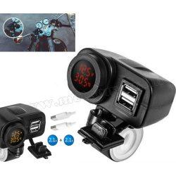 Motorkerékpár USB töltő Volt és Hőmérővel vízmentes M31001A