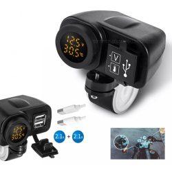 Motorkerékpár USB töltő Volt és Hőmérővel vízmentes M31001B