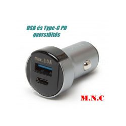 Autós USB és Type-C PD gyorstöltő MNC 55025