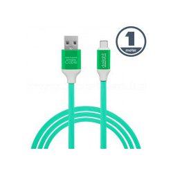 USB / USB-C telefontöltő és adatkábel 1 m zöld 55436G