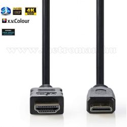 Nagy sebességű HDMI - mini HDMI kábel, aranyozott, 1,5 m