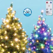Karácsonyi kültéri LED égősor fényfüzér DUAL COLOR LED 102R/WW/M