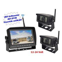 """Digitális vezeték nélküli kétkamerás tolatókamera szett 7""""-os HD LCD monitorral MM1107-HD 12/24 Volt"""