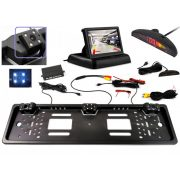 Autós univerzális rendszámtábla tolatókamera és tolatóradar LCD monitorral Mlogic MM4822LED-MR43