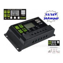 Napelem töltésvezérlő 12-24V 30A MM21093PWM