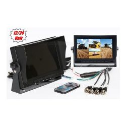 Ipari kivitelű autó, kamion, busz, munkagép LCD monitor tolatókamerához MM3659-QUAD 12/24V