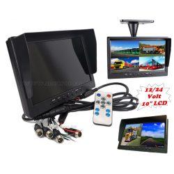 """Ipari kivitelű autó, kamion, busz, munkagép 10""""-os LCD monitor tolatókamerához MM3695-QUAD 12/24V"""