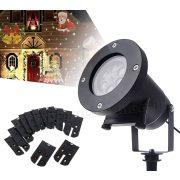 Kültéri színes LED fény projektor kerti hangulat világítás 12 vetítőlappal MM9578