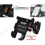 Alumínium motoros telefontartó Qualcomm 3.0 USB gyorstöltővel MMS9105B