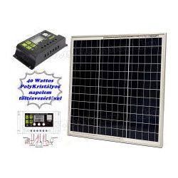 12V 40 Watt napelemes töltő szett töltésvezérlővel Poly Solar MP-40W-10A-PWM