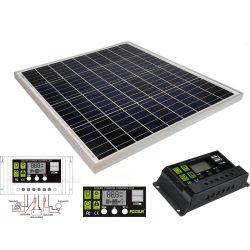 12V 60 Watt napelemes töltő szett töltésvezérlővel Poly Solar MP-60W-10A-PWM