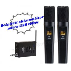 Vezeték nélküli mikrofon akkumulátoros stick vevővel és 2 db mikrofonnal VoiceKrakt U7298 BT
