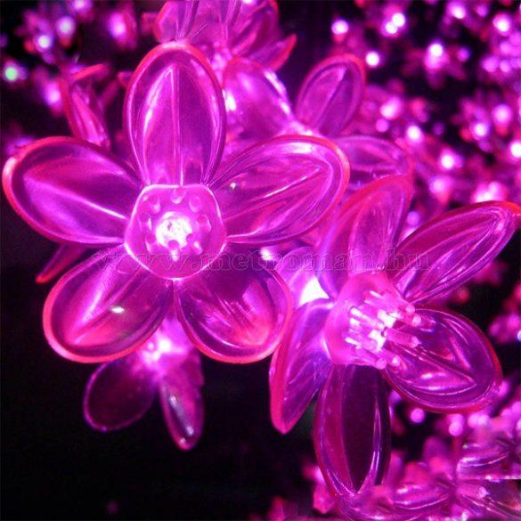 Napelemes Karácsonyi LED égősor, Kerti Fényfüzér, Kültéri, NLEDCSP Pink Cseresznyefa Virág