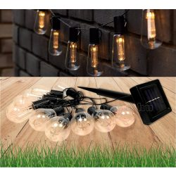 Retró Edison körte izzó formájú napelemes kültéri kerti LED fényfüzér Meleg Fehér