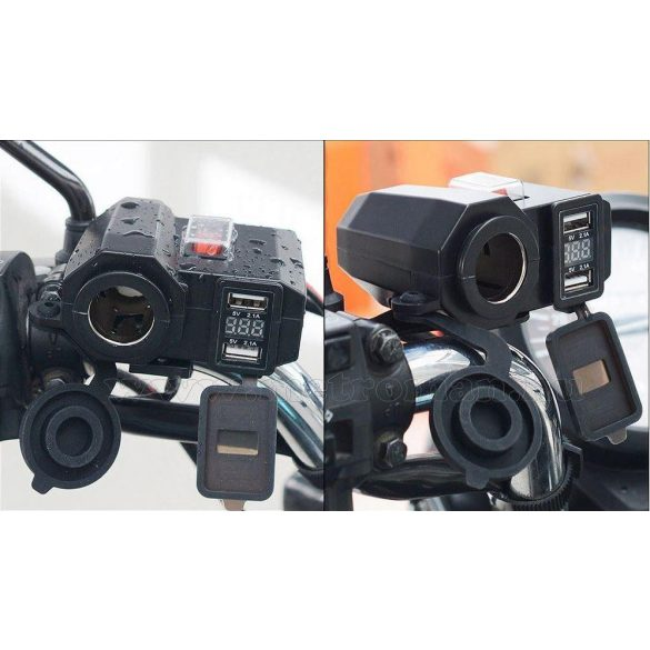 Motorkerékpár szivargyújtó aljzat és USB töltő Voltmérővel  vízmentes, MS19USB
