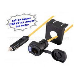 Autós szivargyújtó hosszabbító kábel USB töltővel Stanley 144