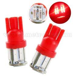 Autós LED izzó 10 db SMD LED-del piros, T1010SMD7014P